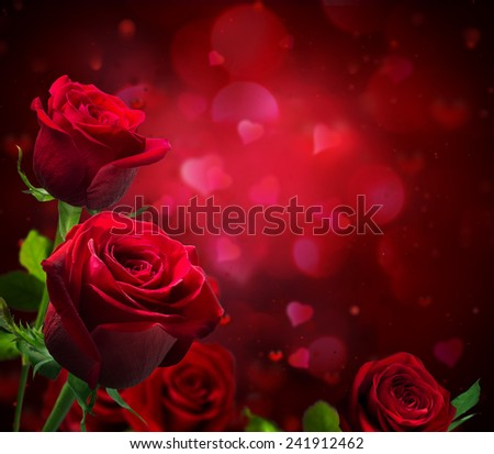 valentine background with hearts and red roses