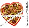 valentine box of chocolate wrapped in tape measure - concept of gift of the expanding waistline, isolated on white - stock photo