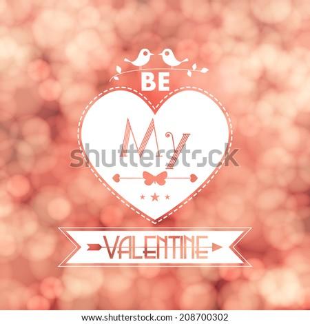 Valentine card blurred flickering lights background illustration - stock photo