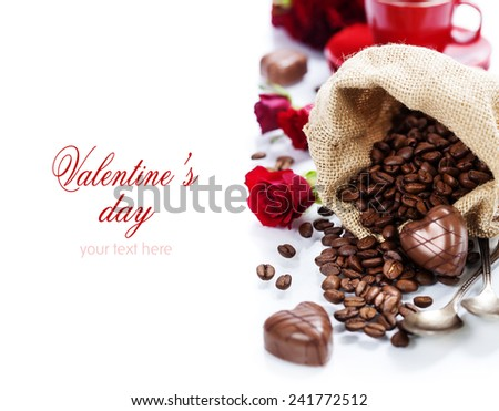 Valentine card. Chocolate and coffee for Valentine's Day (with easy removable sample text) - stock photo