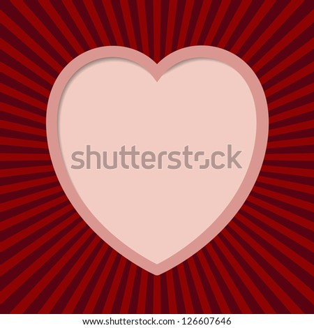 Valentine card with cuted heart.