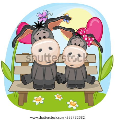 Valentine card with Lovers Donkeys  - stock photo