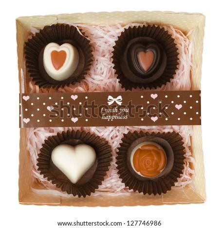 valentine chocolate on white background - stock photo