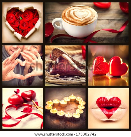 Valentine Collage. Valentines Day Hearts art design. Love. Red heart, roses, lips, ribbons over wooden background. Coffee Cappuccino with heart foam. Flower Petals, burning Candles and Heart lips kiss