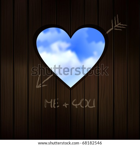 valentine concept - heart cut into wood door, realistic illustration with blue sky. Raster version - stock photo