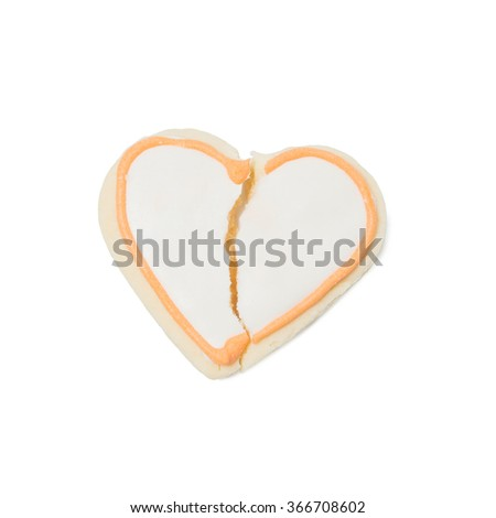 Valentine cookie heart isolated on white background - stock photo