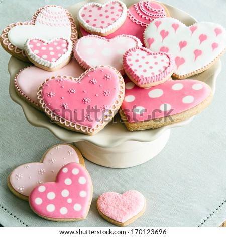 Valentine cookies - stock photo