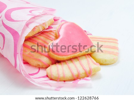 Valentine cookies in the shape of heart - stock photo