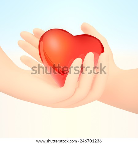Valentine Couple. Making shape of Heart by their Hands. Happy Joyful Family. Love Concept. Heart Sign.  Valentines Day. - stock photo