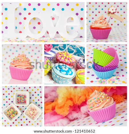 valentine cupcake dotted love collage - stock photo