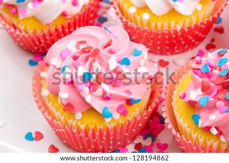Valentine cupcakes - stock photo