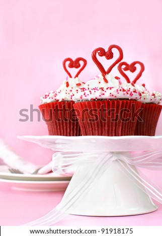 Valentine cupcakes - stock photo