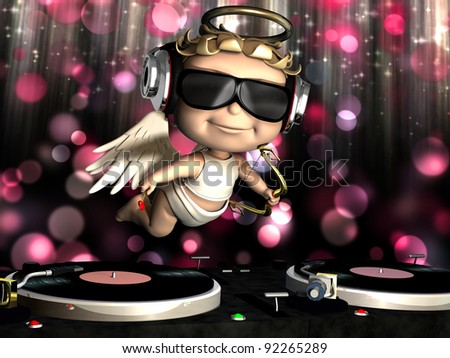 Valentine Cupid is In the House and mixing up some Valentine cheer.  Turntables with vinyl albums. Cupid with wings, bow and heart arrow and disco lights in the background.