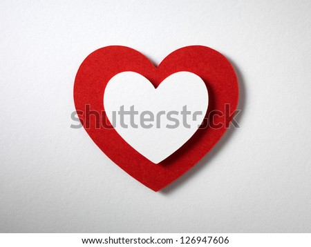 Valentine day card paper cutting design, heart papercraft. - stock photo