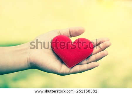 Valentine day concept. Female hand hold fabric red valentine heart with blur green leaf background. Vintage filter.