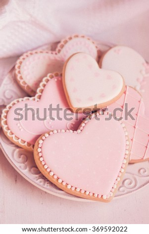 Valentine day cookies in pastel colors