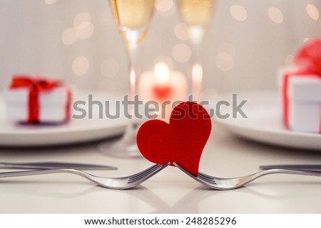 Valentine' day dinner - stock photo