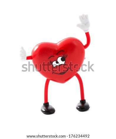 Valentine day female heart shape waving happily