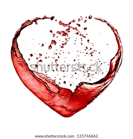 Valentine day heart made of red wine splash isolated on white background - stock photo