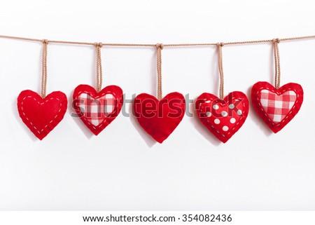 Valentine day love beautiful. Heart handmade - stock photo