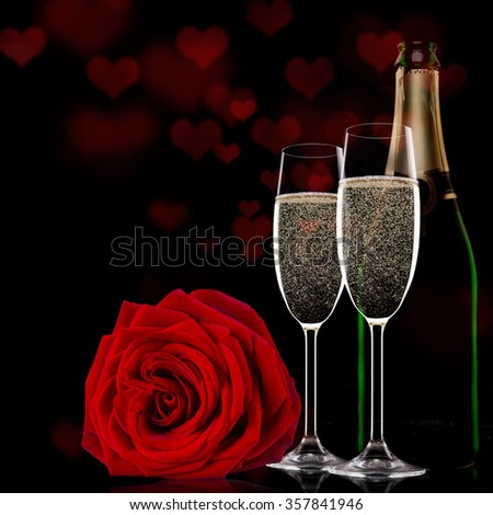 Valentine day with champagne and roses - stock photo