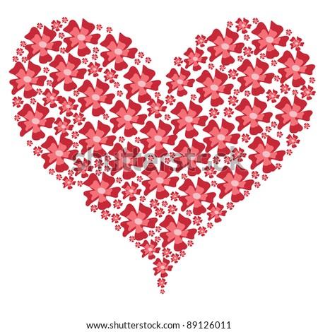 valentine floral heart on white. Raster version - stock photo