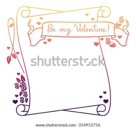 Valentine frame  - stock photo