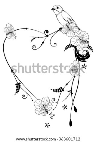 Valentine frame with bird and hibiscus in black and white colors - stock photo
