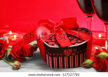 Valentine Gift Box Heart Shape with Wine and Roses