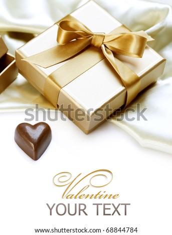 Valentine Gift.Chocolate heart - stock photo