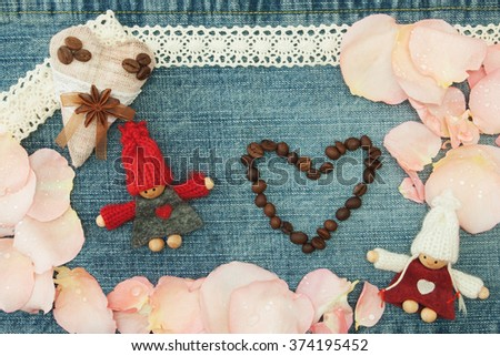 Valentine, greeting card with textile coffee heart, couple in love, heart of the coffee beans and soft pink rose petals On the denim valentine's day background. Handmade concept - stock photo