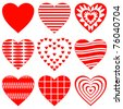 Valentine heart, love symbol, pattern, set pictogram - stock vector