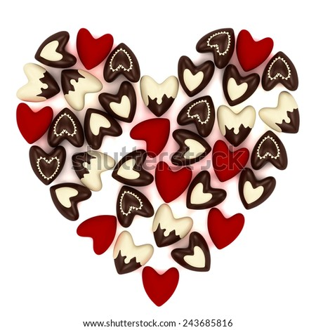 Valentine heart made of many small chokolate and velvet hearts on white background - stock photo