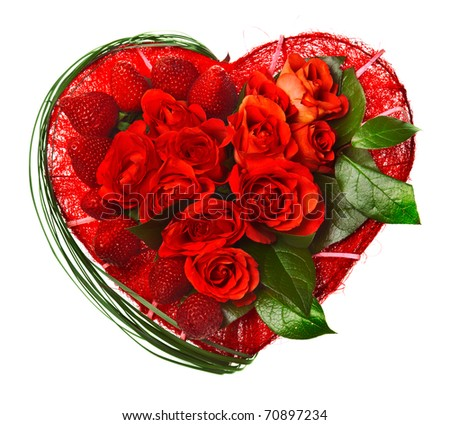 valentine heart made of roses and strawberries isolated on white background - stock photo