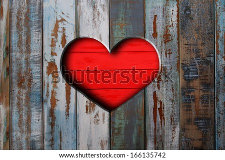 Valentine heart on vintage wooden background