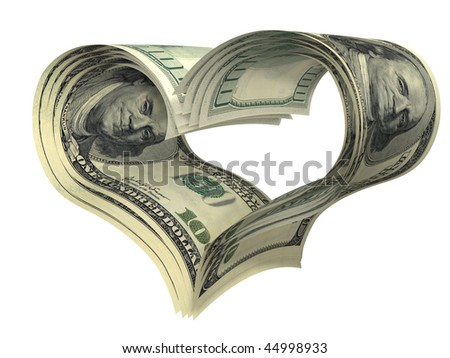 valentine heart shape made by dollars isolated on white - stock photo