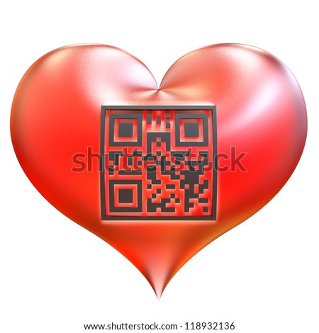 Valentine heart with QR code isolated on white background. QR code with encrypted text - I Love You! - stock photo