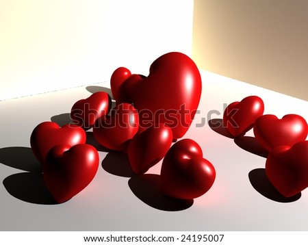 valentine hearts - stock photo