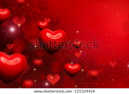 Valentine Hearts Background. Valentines Red Abstract Wallpaper. Backdrop Collage - stock photo