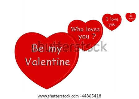 valentine hearts isolated on white