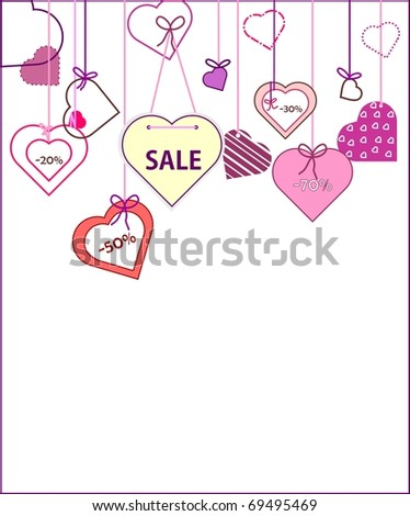 Valentine label hearts with percentage