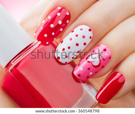 Valentine Nail Art Manicure Valentines Day Stock Photo Royalty Free