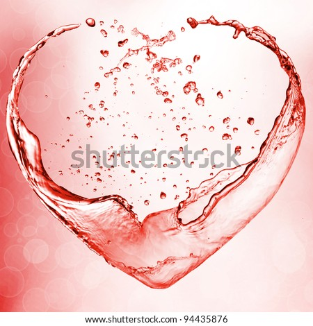 Valentine postcard heart from red wine - stock photo