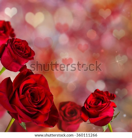 Valentine red roses abstract background wallpaper.