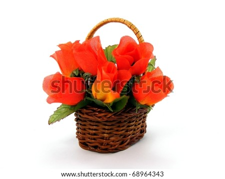 Valentine Rose Basket - stock photo