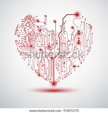 Valentine's background with circuit board on heart shape - stock photo