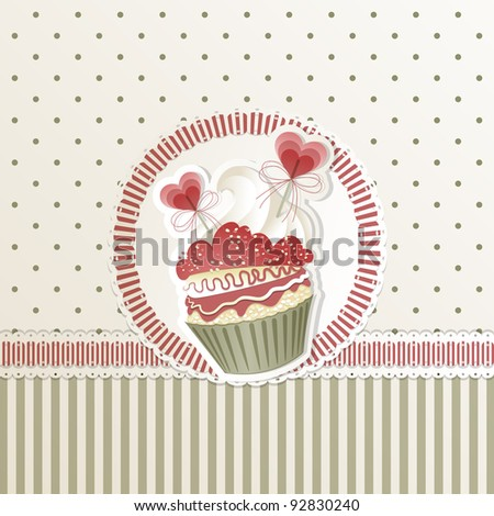 Valentine's card with cupcake and hearts decorations - stock photo