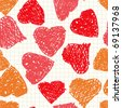 Valentine's day abstract background with hearts as picture of baby. Seamless pattern. Raster illustration. - stock photo