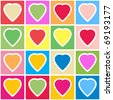 Valentine's day abstract background with multicolor hearts on grid. Seamless pattern. Raster illustration. - stock photo