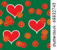 Valentine's day abstract green background with red hearts and orange flowers. Seamless pattern. Raster illustration. - stock photo